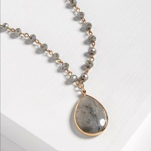 Maurices gray beaded pendant necklace